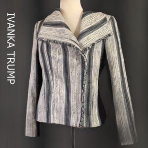 Ivanka Trump Tweed Asymmetrical Zip Jacket Size 8